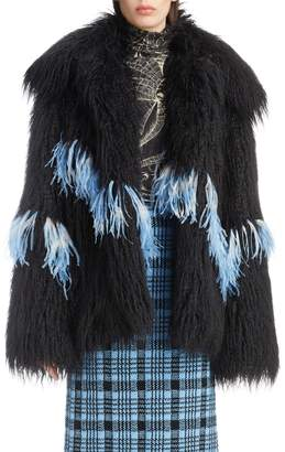 Dries Van Noten Feather Trim Faux Fur Jacket
