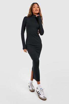 8e915333056 boohoo Jumbo Rib Roll Neck Midi Dress
