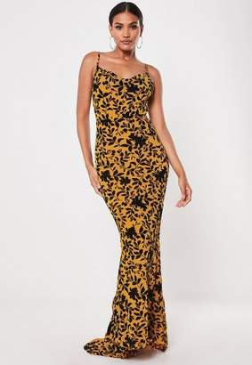 7103c69a21 Missguided Mustard Devore Cowl Front Maxi Dress