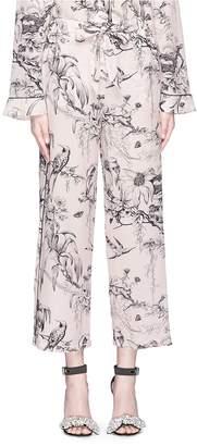 Alexander McQueen Botanical print cropped silk pyjama pants
