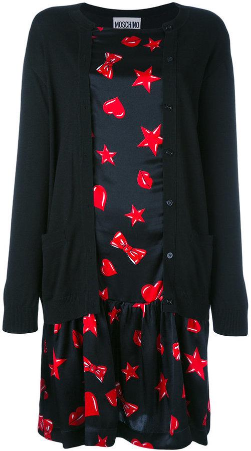 MoschinoMoschino heart print cardigan dress