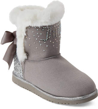 Juicy Couture Kids Girls) Grey Burbank Faux Suede Boots