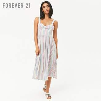 Forever 21 (フォーエバー 21) - Forever 21 レインボーストライプミディワンピース