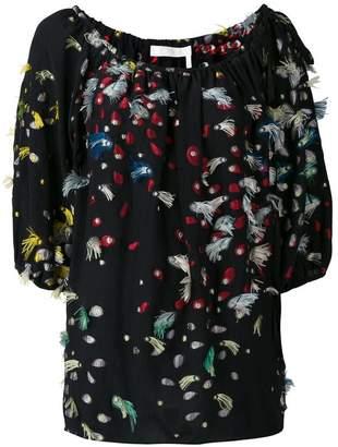 Chloé fil coupé off the shoulder blouse
