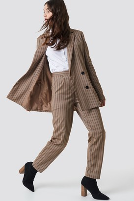 NA-KD Straight Leg Striped Suit Pants Beige