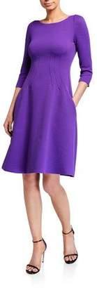 Emporio Armani Wave Jersey 3/4-Sleeve Full Skirt Dress