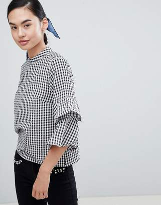 Only Peptia Gingham Ruffle Sleeve Top