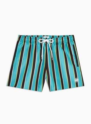 3403036418 Topman Mens Blue Teal Block Stripe Swim Shorts