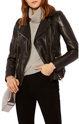 Karen Millen Strong Shoulder Leather Biker Jacket, Black