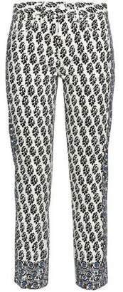 Tory Burch Printed Mid-Rise Slim-Leg Jeans