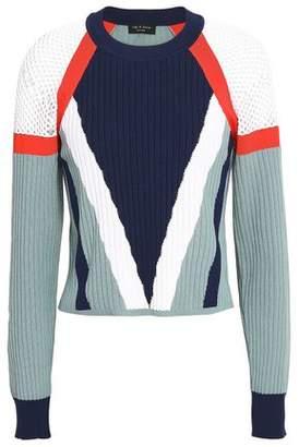 Rag & Bone Color-Block Ribbed Cotton-Blend Sweater