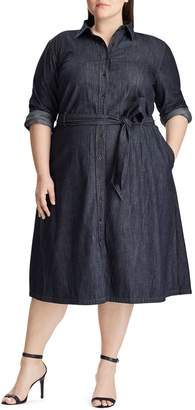 Lauren Ralph Lauren Plus Belted Denim Knee-Length Shirtdress