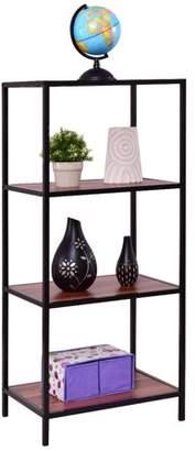 Costway 4 Tier Storage Shelf Bookcase Bookshelf Display Organizer Rack Metal Frame
