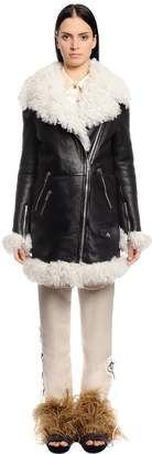 Sonia Rykiel Leather & Shearling Coat