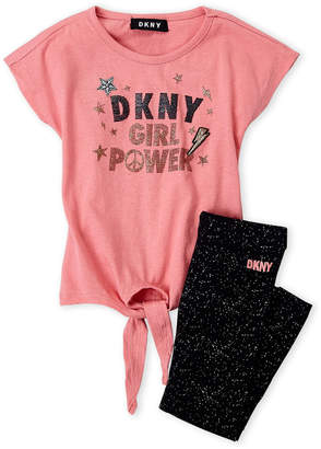 DKNY Toddler Girls) Two-Piece Tie-Front Logo Tee & Splatter Leggings Set
