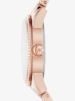 Michael Kors Mini Ritz Pave Rose Gold-Tone Watch