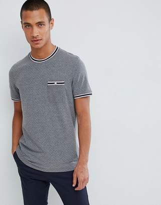 Ted Baker pique t-shirt in gray with polka dot