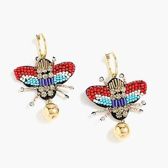 J.Crew Leather-backed beaded beetle earrings