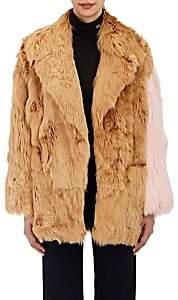 Calvin Klein Women's Colorblocked Suri Alpaca Fur Coat-Camel