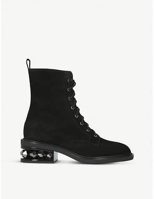 Nicholas Kirkwood Suzi embellished suede combat boots
