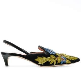 Alberta Ferretti floral embroidered kitten heels