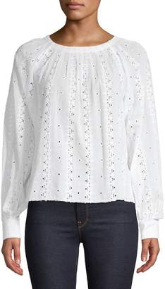 Joie Eyelet Long-Sleeve Cotton Blouse