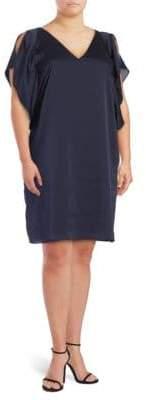 Rachel Roy Plus Satin Flutter-Sleeved Dress