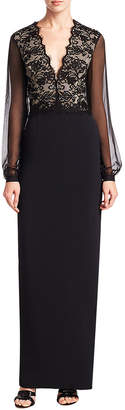 Monique Lhuillier Lace Column Gown