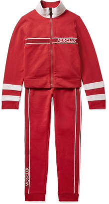 Moncler Ages 8 - 10 Grosgrain And Shell-trimmed Cotton-blend Jersey Tracksuit