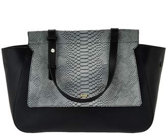 Halston H By H by Smooth Leather Satchel with Snake Embossed Flap