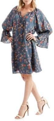Lucky Brand Floral-Print Bell-Sleeve Shift Dress