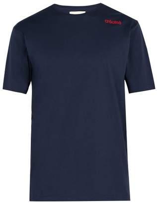 Wales Bonner Crew Neck Cotton Jersey T Shirt - Mens - Navy