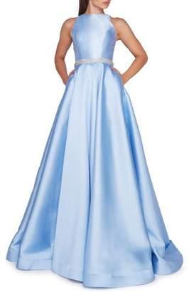 Mac Duggal Ieena for High-Neck Sleeveless Ball Gown w/ Embellished Waist