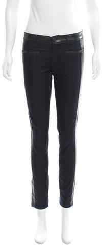 Tory BurchTory Burch Straight-Leg Leather-Accented Jeans