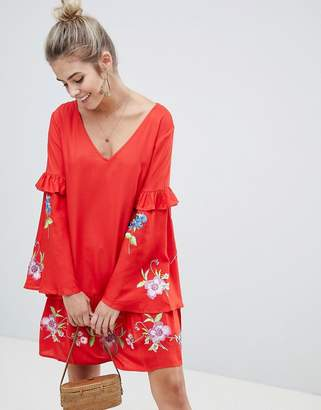 Asos ULTIMATE Mini Embroidered Smock Dress