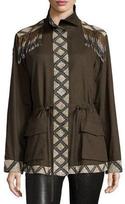 Haute Hippie Long Sleeve Embellished Cargo Jacket $695 thestylecure.com