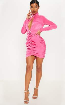 PrettyLittleThing Hot Pink Diamante High Neck Ruched Bodycon Dress