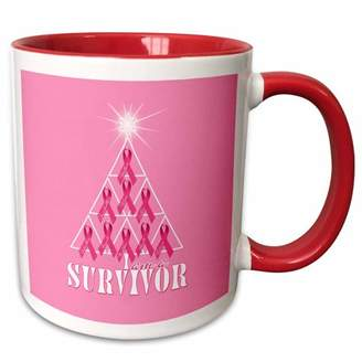 3dRose Breast Cancer Pink Ribbon Christmas Tree Survivor - Two Tone Red Mug, 11-ounce
