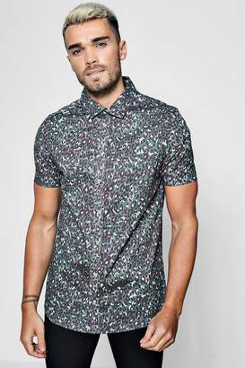 boohoo Leopard Print Short Sleeve Shirt In Muscle Fit