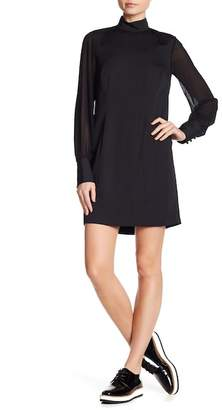 Rachel Roy Mock Neck Chiffon Sleeve Shift Dress