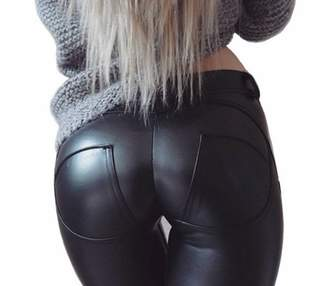 DALLNS Faux Leather PU Elastic Shaping Hip Push up Pants Sexy Leggings for Women ((Size 10-12) X-Large)