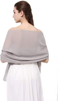 FASHION DRESS Sheer Soft Chiffon Bridal Shawl for Special Occasions (More Colors) (Silver Grey)