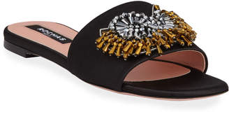 Rochas Broach Beaded Satin Slide Sandals