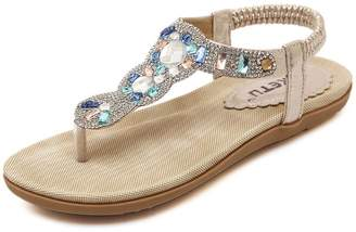 fec3e3d0bd472b Btrada Sandals for Women-Summer Bohemian Shoes-Clip Toe Beach Casual Flats -Outdoor