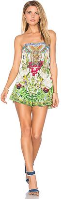 Camilla Drop Shoulder Romper in Green $500 thestylecure.com