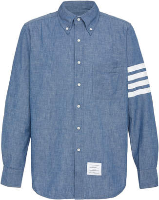 Thom Browne Striped Cotton-Chambray Shirt