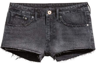 H&M Denim Shorts Low Waist - Gray
