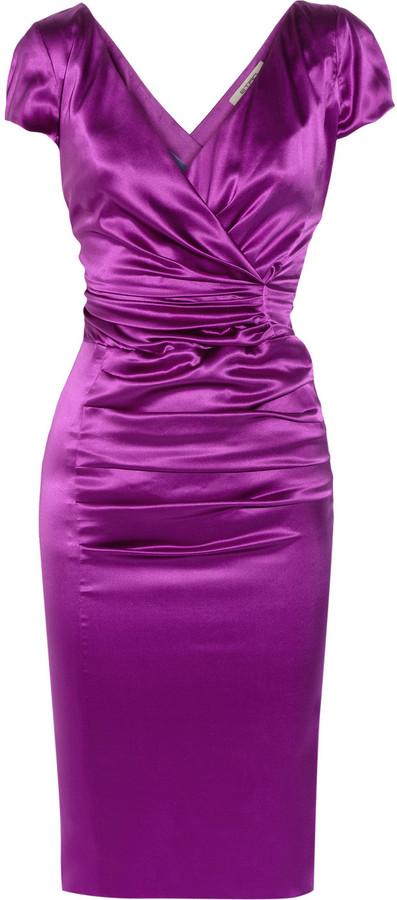 Etro Wrap-effect stretch silk-satin dress
