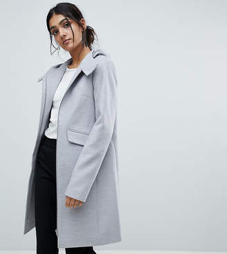 Asos Tall TALL Hooded Slim Coat with Zip Front