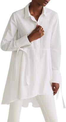 MANGO Long High-Low Cotton Shirt